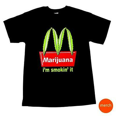 Mcdonalds Marijuana Im Smoking It Stoner Weed Pot 420 Black Cotton T Shirt Tee