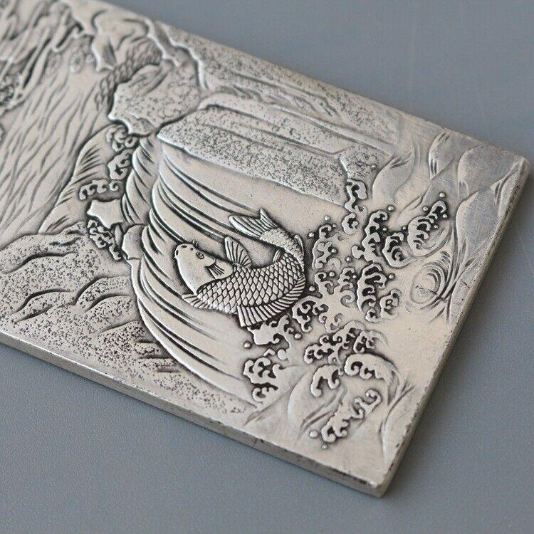 old tibetan tibet silverShuanglong grab treasure Amulet plate