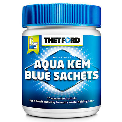 Sanitärzusatz für Campingtoilette Aqua Kem Blue Sachets 15 Stück Toilettenzusatz
