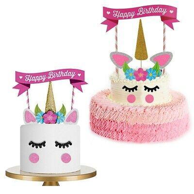 Happy Birthday Einhorn Torten Stecker Deko Cake Topper Geburtstag Kuchen Rosa
