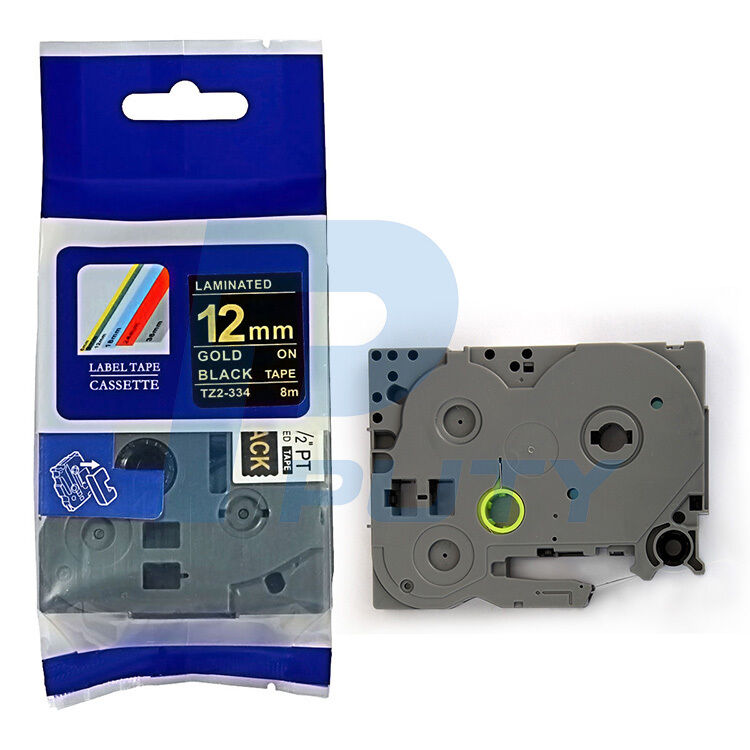 TZ-334 TZe-334 Label Tape Fit For Brother P-touch PT-D210 12mm Gold on Black 5PK