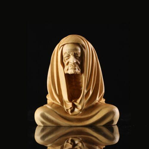 JP105 - 5.5 CM High Carved Boxwood Carving Figurine - Damo Monk Elder