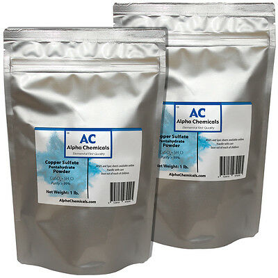 2 Pounds - Copper Sulfate Pentahydrate Powder - 99 Pure