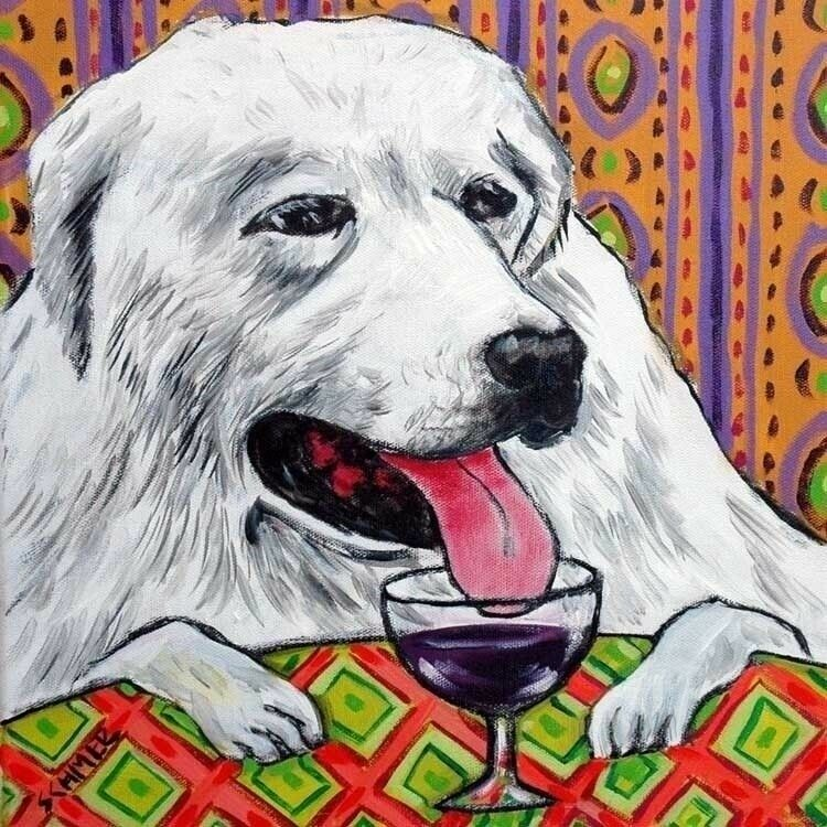 great pyrenees wine picture dog art tile coaster gift