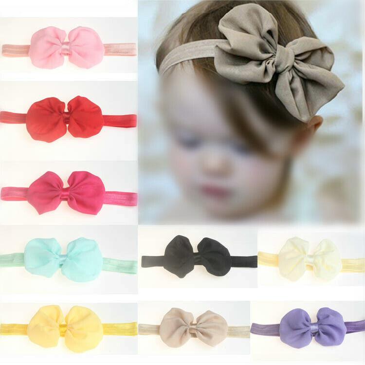 4PCS Kid Girls Elastic Baby Headdress Hair Band Bow Newborn Headband Accessories