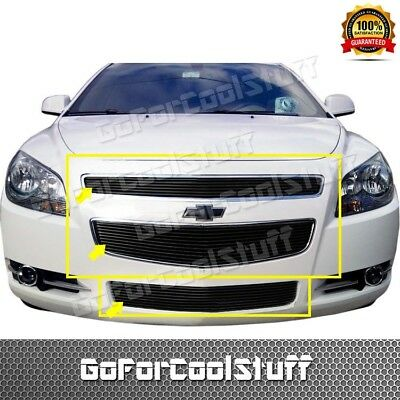 For 2008 09 2010 2011 2012 Chevy Malibu Black Billet Grille Grill Combo Inserts