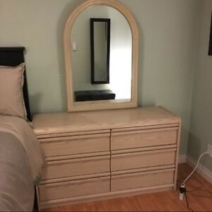 Six Drawer Dresser, Three Drawer Chest, mirror and shelf