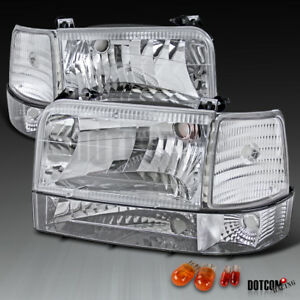 1992-1996 Ford F150/250/350 Bronco Chrome Clear Headlights Bumper Corner Lamps