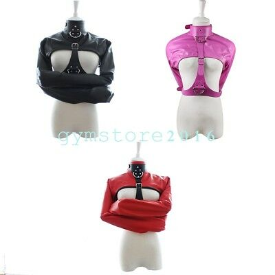 Sexy Women PU Leather Body Harness Cupless Straight Jacket Adult Costume Game