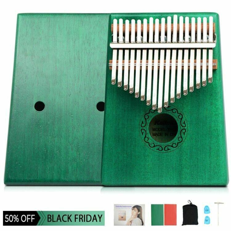 17 Key Kalimba Thumb Finger Mbira Wood Mahogany Keyboard Music Instrument Green