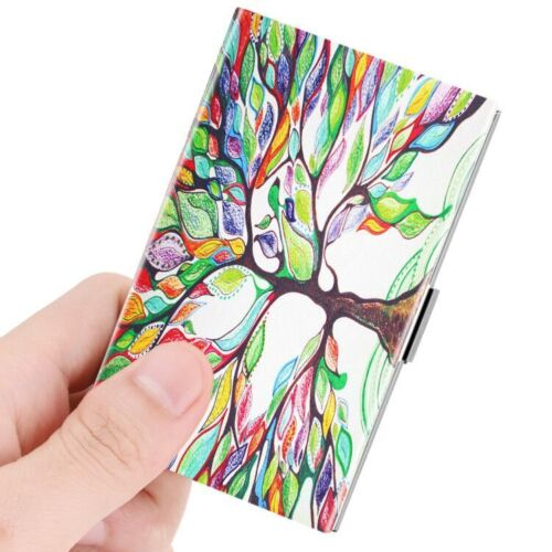 Business Card Holder Genuine Leather Coated Slim Card Case Organizer - Love Tree