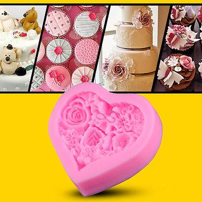 Herzform Rose Blume Silikonform Polymer Clay Zucker Handwerk Kuchen dekorieren (Herz Kuchen Dekorieren)