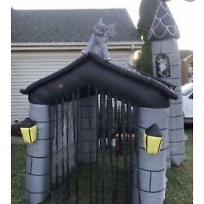 Gemmy Halloween inflatable Haunted House - 11' tall tower and gargoyle(Rare/HTF)