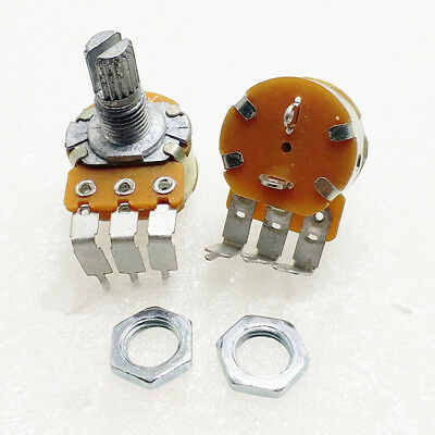 5pcs B10k 10k Wh148 Angled Linear Potentiometer With Switch Shaft 15mm 3 Pin