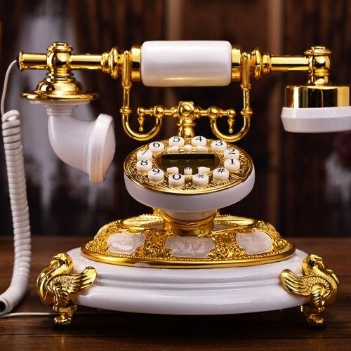 White Gold luxury retro European Antique phone Vintage corded telephone F055