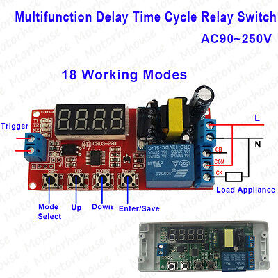 Digital Ac 110v 220v Multifunction Delay Timing Cycle Timer Relay Trigger Switch