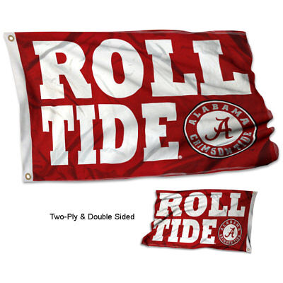 Alabama Crimson Tide ROLL TIDE Flag Double Sided 2-Ply 3x5 Foot Outdoor Banner