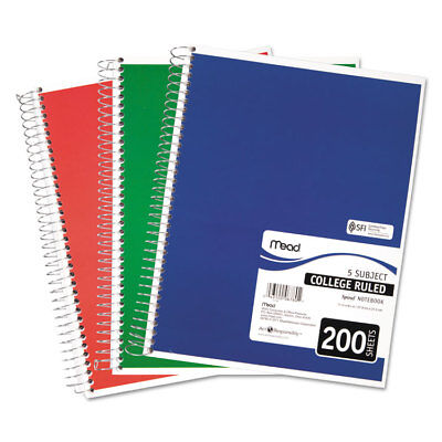 Mead Spiral Bound Notebook Perforated College Rule 11 X 8 12 White 200 Sheets