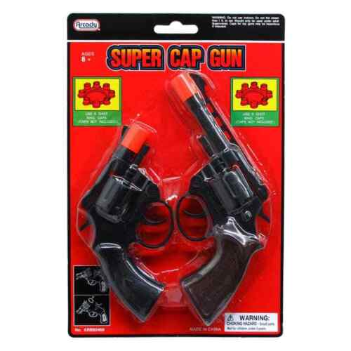 8 Ring Shot Cap Gun Police Series 2-Pack Pistol Revolver Black New Toy Replica