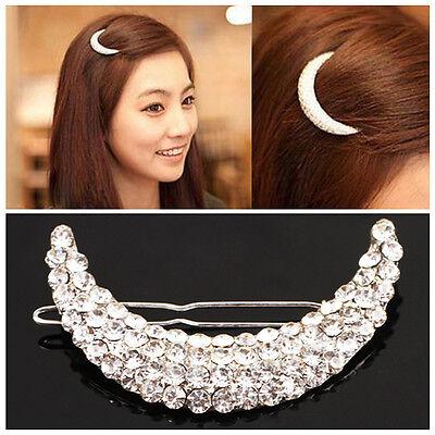 Womens Cute Beauty Crystal Moon Rhinestone Headwear Hairpin Hair Clip Jewelry