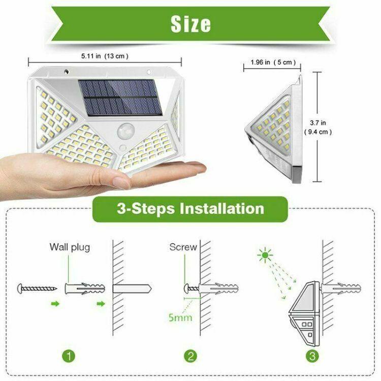 Waterproof 100 LED PIR Motion Sensor Solar Power Outdoor Garden Lamp Yard Light 3