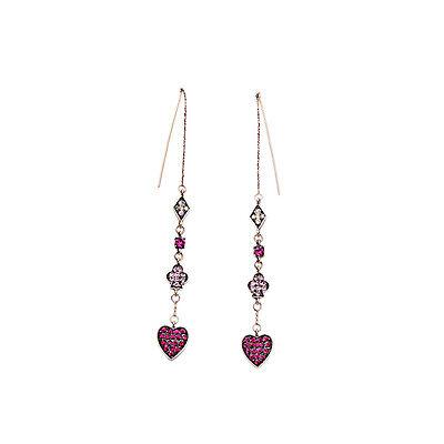 Pink Heart Threader Earrings Long Linear Earrings Free Shipping