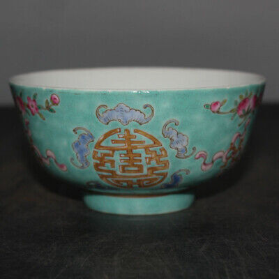 Torqouise Navy and deep green Free Shipping Hand thrown Pottery bowl 6 inch across 3 inch deep Nice work