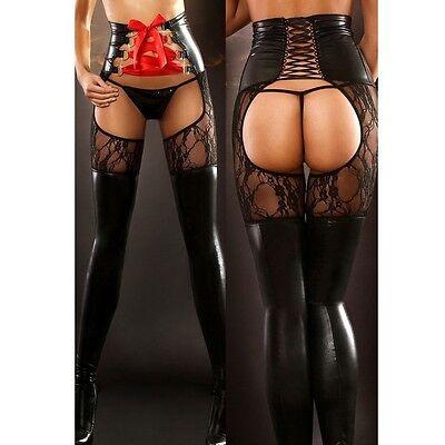 Sexy patent Leather Lace Pants Corset pantyhose Rock Club Wear Bodycon