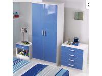Blue gloss bedroom furniture