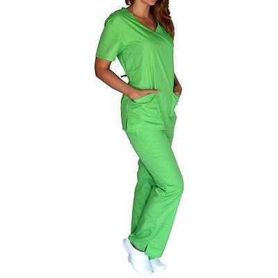 Medical Women Scrub set NATURAL UNIFORMS XS S M L XL 2XL 3XL Mock Wrap top+pants
