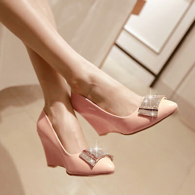 Evening High Heels - Womens Chic Pointed Toe Slip On Wedge High Heels Rhinestone Evening Pumps Shoes