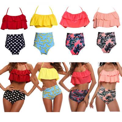 Swimwear Fashion Falbala Women High Waisted Bikini Set Push Up Swimsuit Bathing