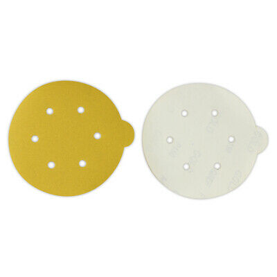 50 Pack - 6 Inch 6 Hole 40 Grit Gold Peel And Stick Adhesive Psa Sanding Discs
