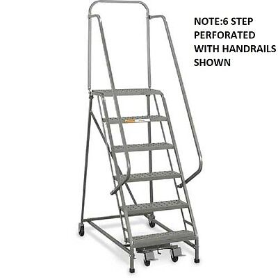 New Ega Steel Industrial Rolling Ladder 5-step 16 Wide Perforated-450lb.cap
