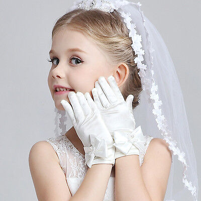 Wedding Flower Girl's Stretch Satin Dress Gloves, Toddlers Baby Girls 3-8 Years