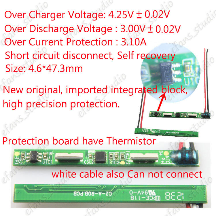 1S 1A PCB Protection Board Soler belt for 3.7v 18650 Li-ion lithium BatterieCell