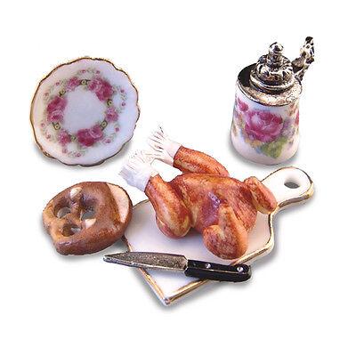 1604//8 Reutter porzellan backhändl poulet rosbif Chicken poupée 1:12 Art