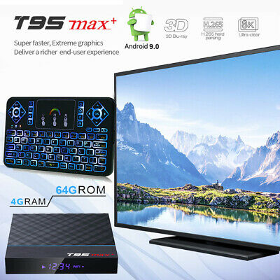 T95 MAX+ 8K HDR Bluetooth Android 9.0 Dual WiFi 64GB 4GB TV Box+Keypad Remote