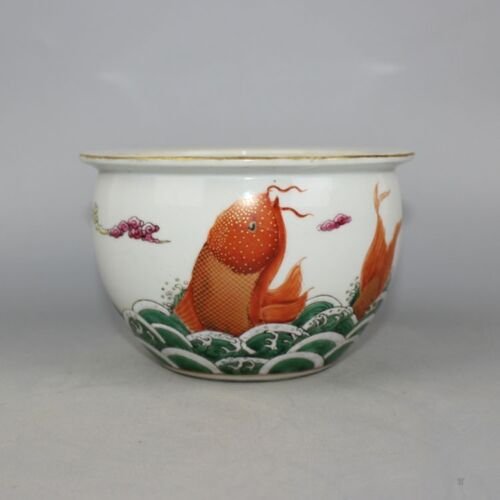 Chinese Old Famille Rose Iron Red Colored Carp & Seawater Pattern Porcelain Jar