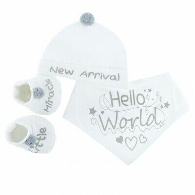 Baby Boys Girls Pom Pom Cotton Hat Booties & Bib Gift Set Newborn - 3 months
