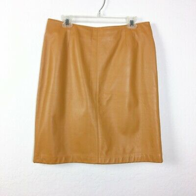 Lord & Taylor Camel Leather Skirt Flat Front Women's Size 12 Lined