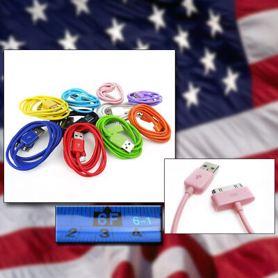 10-COLOR 6FT USB TO 30PIN CABLES DATA SYNC CHARGER SAMSUNG GALAXY TAB P7500 7510 for sale  Shipping to India