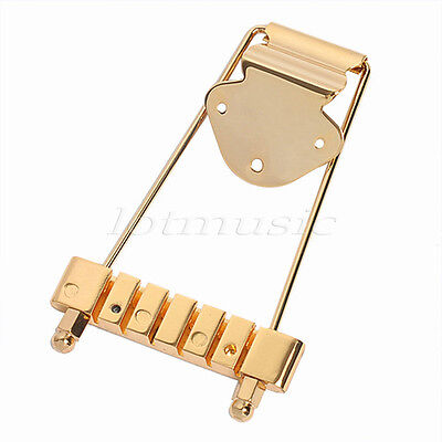 gold trapeze tailpiece bridge 6 string for archtop bass guitar parts ebay. Black Bedroom Furniture Sets. Home Design Ideas