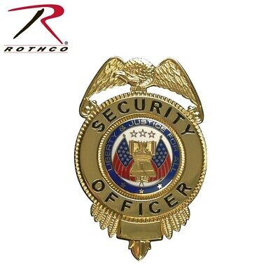 1914 Gold Deluxe Security Officer Shield Badge With Flags Rothco 1914 1914-cs