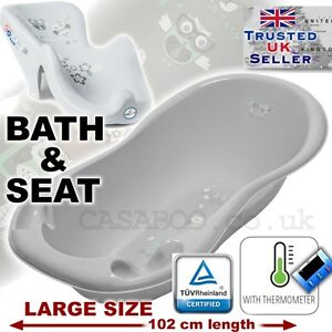 SET LARGE 102cm BABY BATH TUB with therm. + SUPPORT SEAT chair GREY OWL
