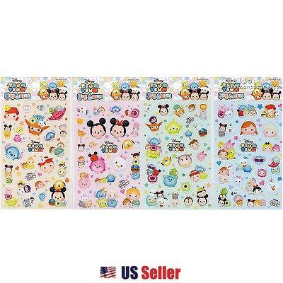 Disney Tsum Tsum Clear Sticker 4pcs Set : Mickey Minnie Donald Pooh Dumbo Frozen