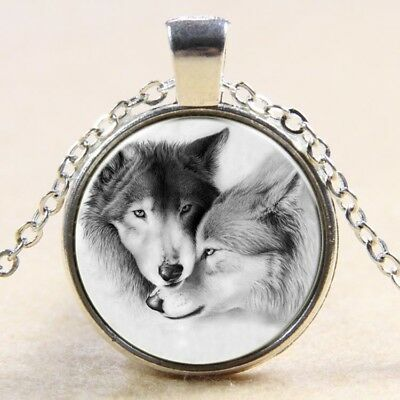 Newest Vintage love Wolf Cabochon Tibetan Silver Glass Chain Pendant Necklace