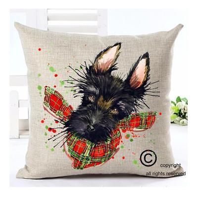 Scottish Terrier Dog Modern Splash Art 16X16 Cotton Linen Home Couch Bed Pillow