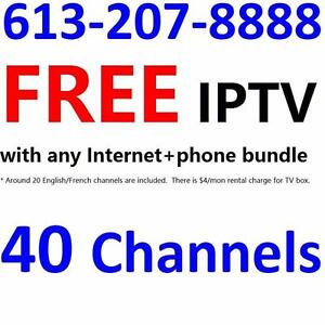 FREE TV service with 40 channels with new internet plan order, please call 613-207-8888 to order . Some conditions apply