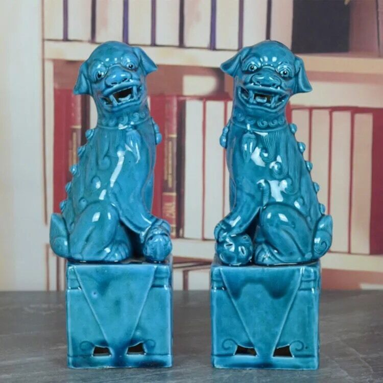 Chinese Blue Glazed Porcelain Foo Dogs Statues FengShui Lions